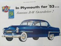 1953 Plymouth for 53 famous B-W Overdrive! Original Magazine Ad Vintage Print
