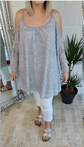 Lace Tunic Cold Shoulder Bell Sleeve Long Tunic Top Stretchy 18 20 22 24 Grey