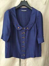 Camilla And Marc Royal Blue Silk Dupion half sleeve peter pan scoop collar sz 8