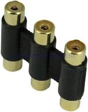 3 RCA Audio Video Joint Straight Plug Jack Adapter Connector Coupler AV Cable