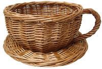 Wicker Tea Cup Basket Novelty Gift Hamper Coffee Shop Afternoon Tea Display 20cm