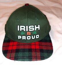 VINTAGE IRISH & PROUD Baseball Cap PLAID Green KC ADJUSTABLE HAT Wool Snapback