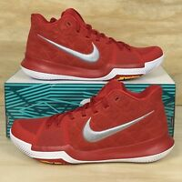 Nike Kyrie 3 University Red Grey White Suede Basketball Shoes 852395-601 Sz 11.5