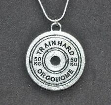 Barbell Weight Plate Train Hard Pendant Necklace Bodybuilding Gym Muscle Workout