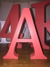 Any 23 Red Wooden Letters A-Z or & Signs (ampersands), 13cm Large Letters