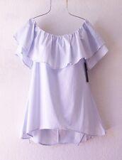 NEW~Light Blue Cotton Ruffle Peasant Blouse Shirt Boho Top~4/6/2/S/Small