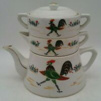 Vintage Teapot Rooster Farmhouse Set w/ Stackable Sugar Bowl and Creamer USA MCM