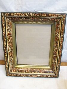Antique Deep Well Picture Frame Photo Ornate Spongeware Painted Finish