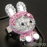 18K WHITE GOLD PLATED HELLOKITTY CAT RING USE SWAROVSKI CRYSTAL FREE SIZE CUTE