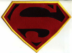 """7"""" x 10""""  Large Fully Embroidered Superman New Frontier Chest Logo Patch"""