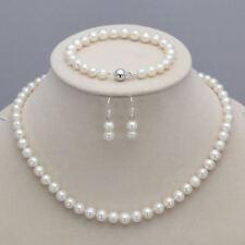 "Natural White 7-8mm Freshwater Pearl Necklace 23"" Bracelet 7.5"" Earring Set"