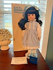 Marian Yu Design Porcelain Girl Doll Blue & White Dress With with papers, stand