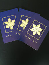 3 Christmas Cards Gold Embossed With Envelopes