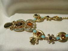 AVON  Paradise Statement Necklace Bright Aqua & Amber-Colored Stones in Goldtone