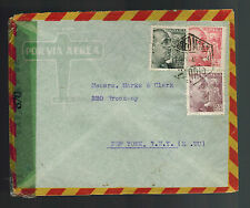 1945 Madrid Spain Censored cover to USA Perfin Stamp
