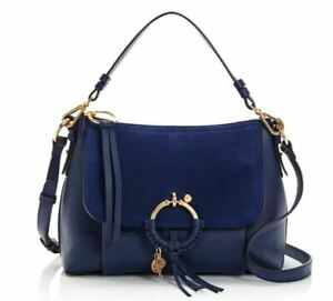 See by Chloe Joan Small Leather & Suede Shoulder Bag Classic Navy/Gold ~NWT