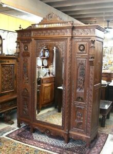French Antique Dark oak Brittany Armoire With 3 Doors & 3 Shelves 1880