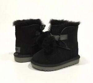 UGG 1017403T GITA TODDLER BOOTS POM-POM BOW BLACK SHEEPSKIN -LITTLE KIDS US 7