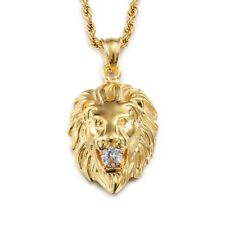 Elvis Presley Round Lion Head Crystal TCB Gold Plated Pendant Chain Necklace