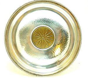 Sterling Silver 925 Brass Medallion Hammered Starburst Sunburst Dish Bowl
