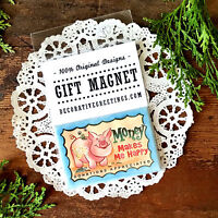 DecoWords Gift Magnet Penny Pincher Piggy Bank MAGNET frugal Money savings