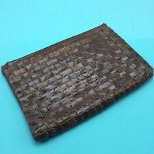 Vtg Brown Braided Leather Clutch Pouch Purse Handbag Boho Hippie 10x6.5 Unique