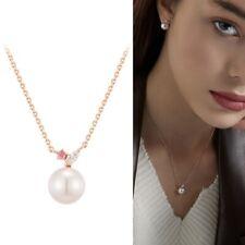 [J.ESTINA] X-Mas Crystal Pearl Pink White Stone Silver Necklace K-beauty