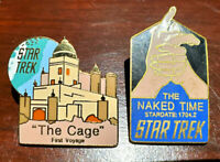 2 FOR 1 SALE!  Vintage Star Trek Cloisonne Pin Set of 2-Cage/Naked Time(01/07)
