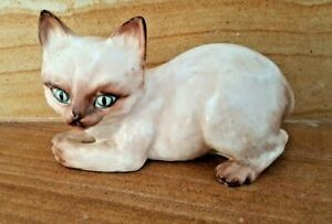 GORGEOUS VINTAGE RARE MADE IN ITALY SIAMESE CAT FIGURINE
