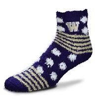 Washington Huskies NCAA For Bare Feet Homegator Purple Fuzzy Socks