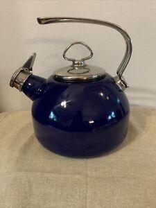 Chantal Cobalt Blue Whistling Teapot Tea Kettle Enamel on Steel 1.8 Qt. EUC
