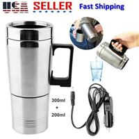 Water Heater Mug Car Electric Heated Kettle Stainless Steel Heating Cup 12V 70W