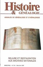 HISTOIRE & GÉNÉALOGIE N° 10/1987 = Reliure/Archives Nationales + NOMS DE FAMILLE