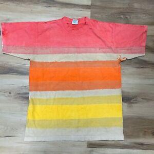 Vintage SUNDOG Mens Single Stitch T Shirt Large USA Made Tie Dyed Striped