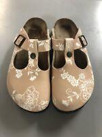 BIRKENSTOCK Papillio Boston Birko-Flor brown floral clogs shoes 37 US 6 R
