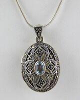 Vintage FAS Sterling Silver Blue Topaz Marcasite Locket Pendant Necklace 925