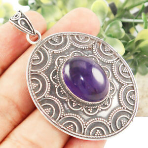 925 Solid Sterling Silver Natural Amethyst Gemstone Pendant Jewelry IN-433