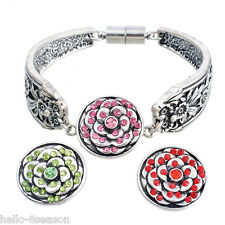3PCs Mixed Snap Button With Rhinestone Round Flower Pattern Diy Jewelry 20mm