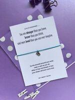 Elephant Wish Bracelet, Inspirational Card Strength Message, Cancer Gift Card