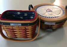 Longaberger 2001 & 2005 Bush Inaugural Baskets w/Tie On/Liner/ Protector