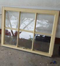 VINTAGE SASH ANTIQUE WOOD WINDOW RUSTIC FRAME BEIGE CREAM 6 PANE 28X36