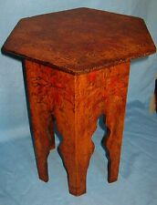 ANTIQUE FLEMISH FOLK ART BURNTWOOD PYROGRAPHY STOOL POINSETTIA  FLORAL DESIGN
