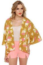 NWT O'neill Women's Jenna Gold Floral Print Kimono Top Size Medium M