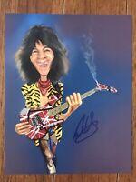 Rare Eddie Van Halen Caricature Signed 100% Authentic autographed  COA LOA