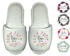 Bridal Spa Slippers - Personalised Wedding Bride Bridesmaid Succulents Flowers