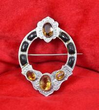 Victorian sterling silver Scottish Brooch Floral Citrine & gemstone cabochons