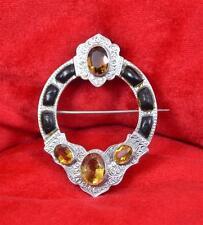 Big Victorian sterling silver Scottish chased gemstone Citrine brooch pin