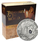 Palau 2013 5$ Treasures of the World AMETHYST In Box and Coa with real Gemstone