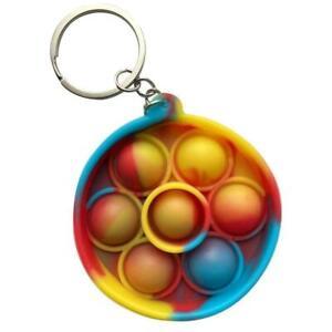Multicoloured Sensory Popper pop it fidget sensory toy circle mini Keyring