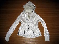 BEKKA Satin Punk Gothic Jacket coat Size Small S Steampunk Hoodie Winter White
